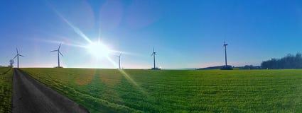 Wind ernergy - Many wind wheels. Viele Windernergie Säulen - Viele Windräder Royalty Free Stock Photos