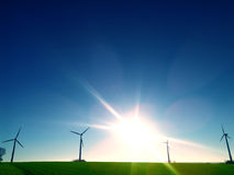 Wind ernergy - Many wind wheels Royalty Free Stock Image