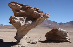 Wind erosion of rocks in Atacama Desert, Bolivia. Wind erosion of rocks in Stone Valley with famous Arbol de Piedra in Atacama Desert in Bolivia Royalty Free Stock Photography
