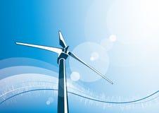 wind för turbin för blå sky för bakgrund Arkivfoto