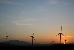 Wind farm. Windmills of a wind farm in españa Royalty Free Stock Photos