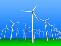 Wind farm. 3D render perspective Stock Image