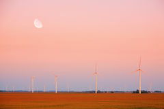 Wind Farm. View of an Indiana wind farm at sunset Royalty Free Stock Photos