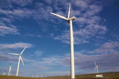 Wind farm. Power generating wind turbines in Arctic on island Havoya, Norway Stock Image