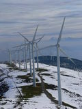 Wind farm. Wind generators line on a wind farm in Oiz Mount, Bizkaia, Basque Country Royalty Free Stock Photography