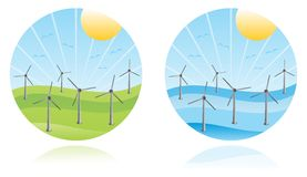 Wind farm. Windmills on a colored landscape Stock Photo