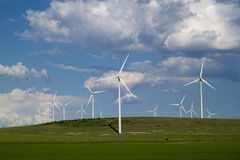 Wind farm. Small wind farm in a natural park Royalty Free Stock Photos