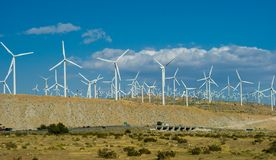 Wind Farm. Southern California Wind Farm located  at White Water Canyon between Los Angeles and Palm Springs Royalty Free Stock Photo