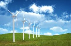 Wind Farm. In grass over blue sky Stock Photos