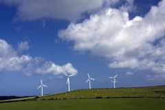 Wind farm. With large turbines moving in the breeze Isle of Anglesey Stock Photos