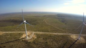 Wind farm aerial 4k video stock footage