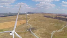 Wind farm aerial stock video footage