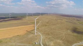 Wind farm aerial stock video