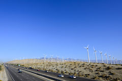 Wind Farm along the California Freeway. Stock Photos