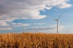 Free Wind Farm And Autumn Cornfield Stock Photography - 190985242