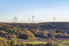 Wind farm around Einkorn near Schwaebisch Hall Stock Photo