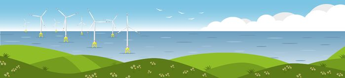 Free Wind Farm At Sea. Banner With Sea Wind Generators Royalty Free Stock Images - 220449839