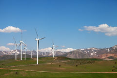 Free Wind Farm At Sun Spring Day Royalty Free Stock Photography - 53435347