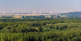 Wind farm in Austria, view from Bratislava Castle Stock Photos