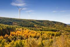 Wind farm in autumn Stock Photos