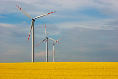 Wind farm and beautiful rapeseed flower in bloom with a clear sky Stock Images