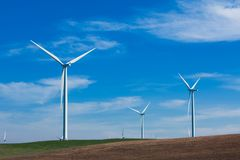 Wind Farm with blue sky Stock Images