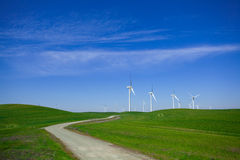 Wind Farm with blue sky stock photography