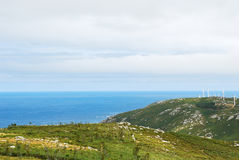 Wind farm on Cape Vilan, Galicia, Spain Stock Image