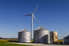 Wind Farm in Central Indiana. Wind and Solar Green Energy areas are becoming very popular in farming communities I. Wind Farm in Central Indiana. Wind and Solar Royalty Free Stock Image