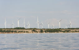 Wind farm on a cliff Royalty Free Stock Photos