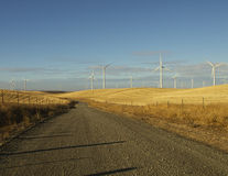 Wind Farm and Country Road stock photo