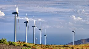 Wind farm in countryside Stock Photo