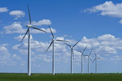 Wind farm in countryside Royalty Free Stock Images