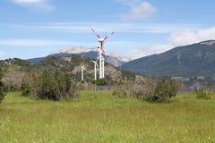 Wind farm at Coyhaique, Chile Stock Photos