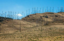Wind farm in the desert Stock Photos