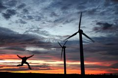 Wind farm at dusk Stock Images