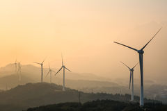Wind farm at dusk Royalty Free Stock Images