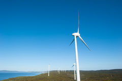 Wind Farm Energy Western Australia. Wind farm along coast of Southern Ocean in Western Australia, supplying renewable energy to town of Albany, summer sunny blue Royalty Free Stock Photos