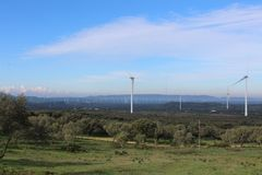 Wind farm Fascinas, Andalusia, Spain stock image