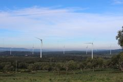 Wind farm Fascinas, Andalusia, Spain royalty free stock photo
