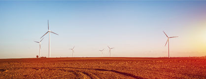Wind farm and filed in vintage sunset Royalty Free Stock Images
