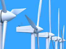 Wind farm generators. Row of wind power generators on blue background Royalty Free Stock Images