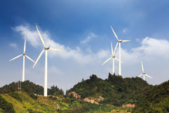 Wind farm in the hill Royalty Free Stock Images