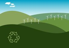 Wind Farm Illustration. Illustration of a windfarm on green hills with clean blue sky Stock Photo