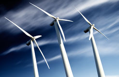 Windmills, Industrial Eolic installation Royalty Free Stock Image