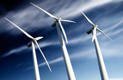 Windmills, Industrial Eolic installation Royalty Free Stock Image