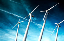 Windmills , Industrial Eolic installation Stock Images