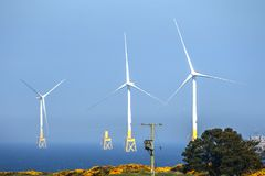 Wind turbines installation. Aberdeen, Scotland, UK. stock images