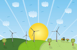Wind farm landscape. Illustration of windmills in a colored landscape Stock Photography