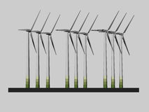 Wind farm model - 3D Royalty Free Stock Image